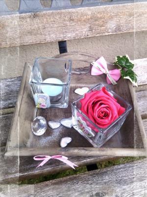 Plateau blanc bougie parfumée diamant paillettes rose