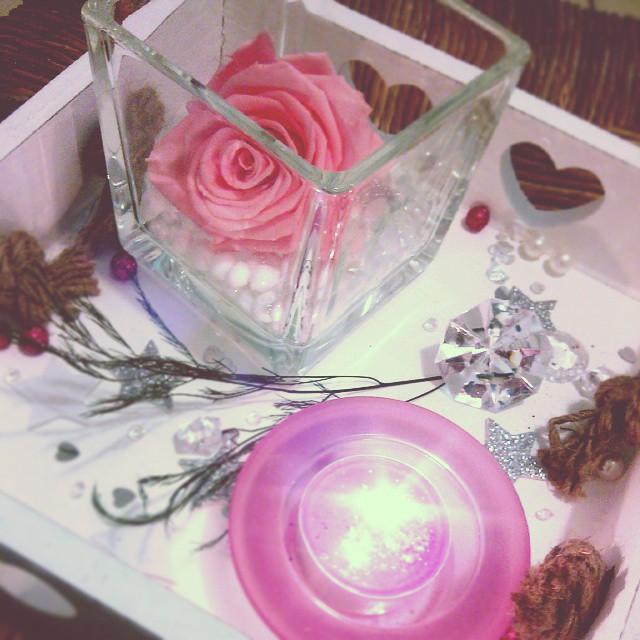 Plateau Bois Bougie Parfum E Rose Naturelle Ternelle D Co Romantique Tout En Rose