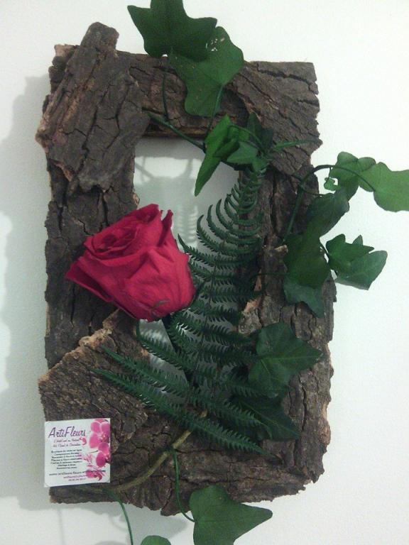 cadre suspendre en bois corce et rose naturelle stabilis e lierre foug re. Black Bedroom Furniture Sets. Home Design Ideas
