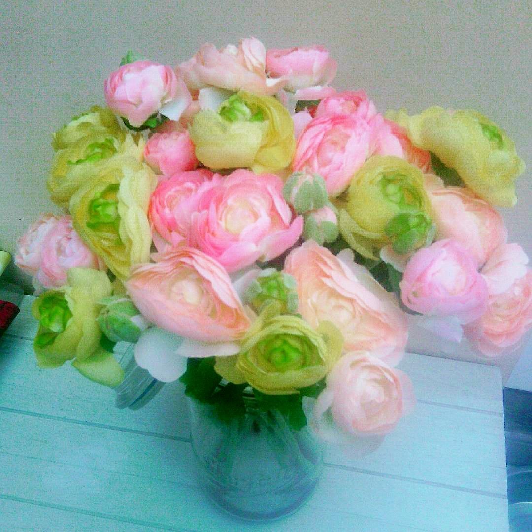 Bouquet renoncules pastel fleurs artificielles - Bouquet fleurs artificielles ...