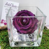 vase cube rose stabilisée artifleurs