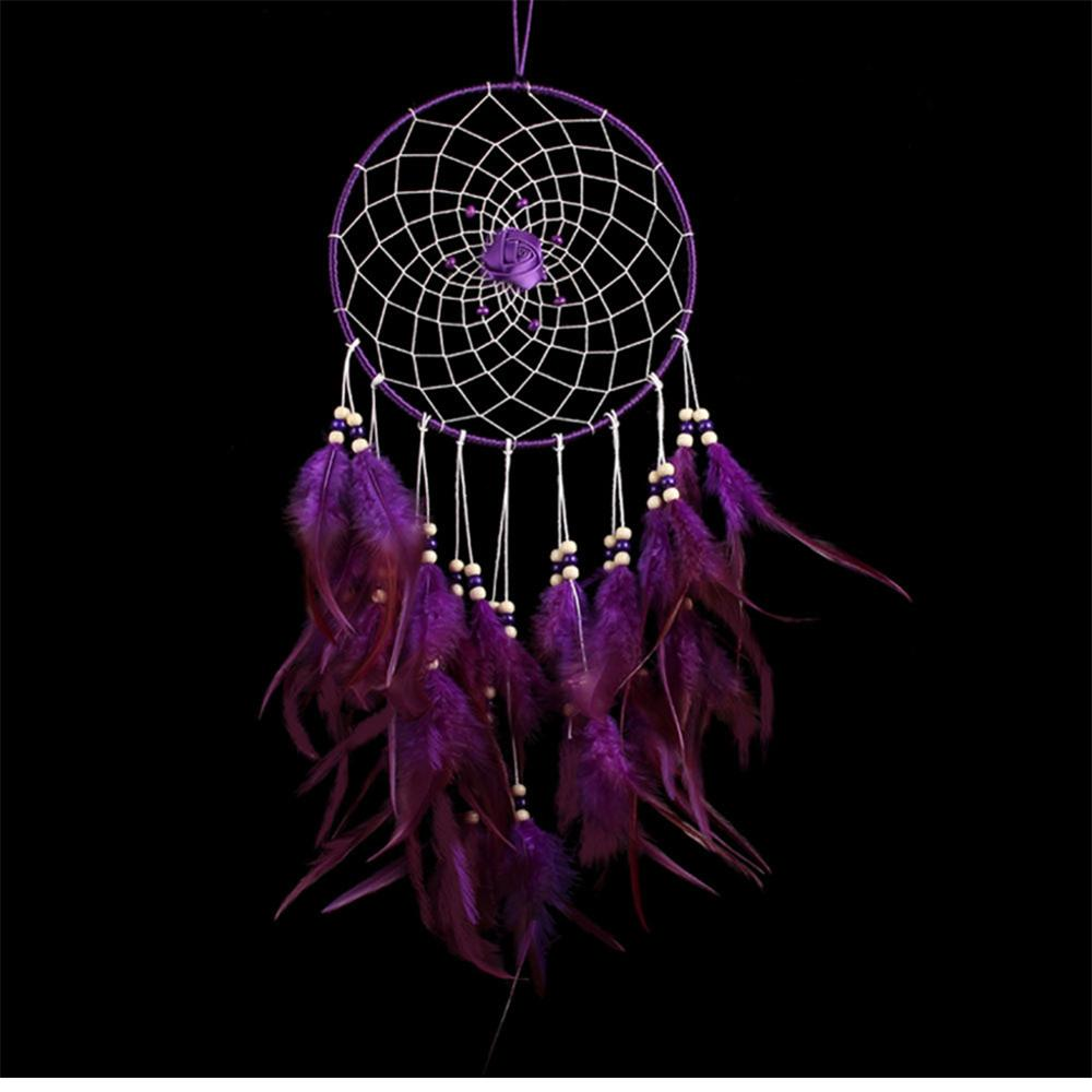 attrape r ves violet avec plumes boh me dreamcatcher. Black Bedroom Furniture Sets. Home Design Ideas