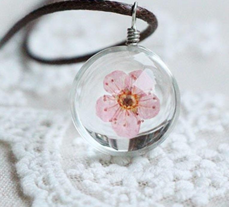 Boule verre fleur