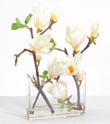 Bouquet magnolia branche vase allonge