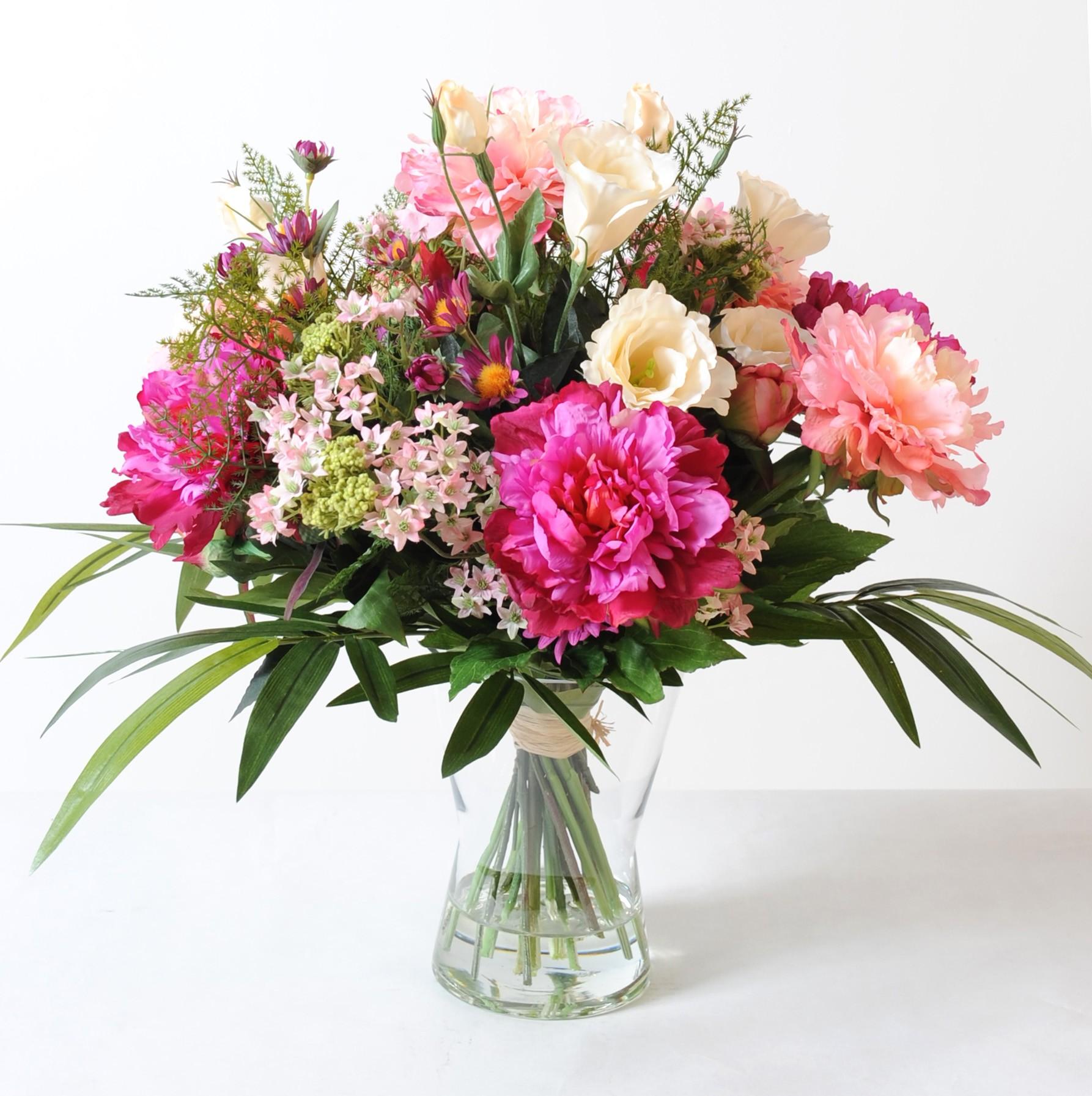Compositions florales avec fleurs artificielles stabilis es - Bouquet de rose artificielle ...