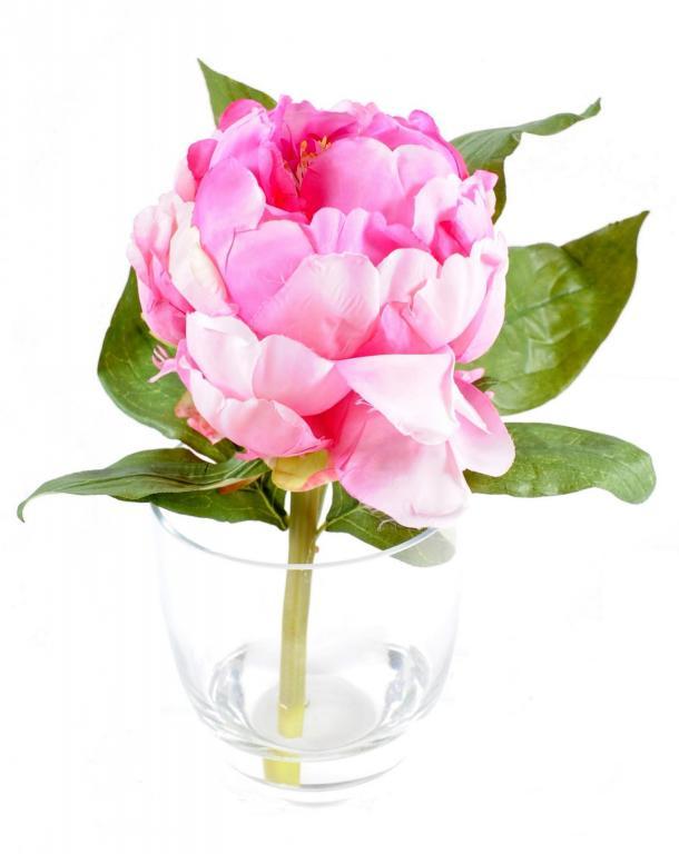 Bouquet pivoine vase verre