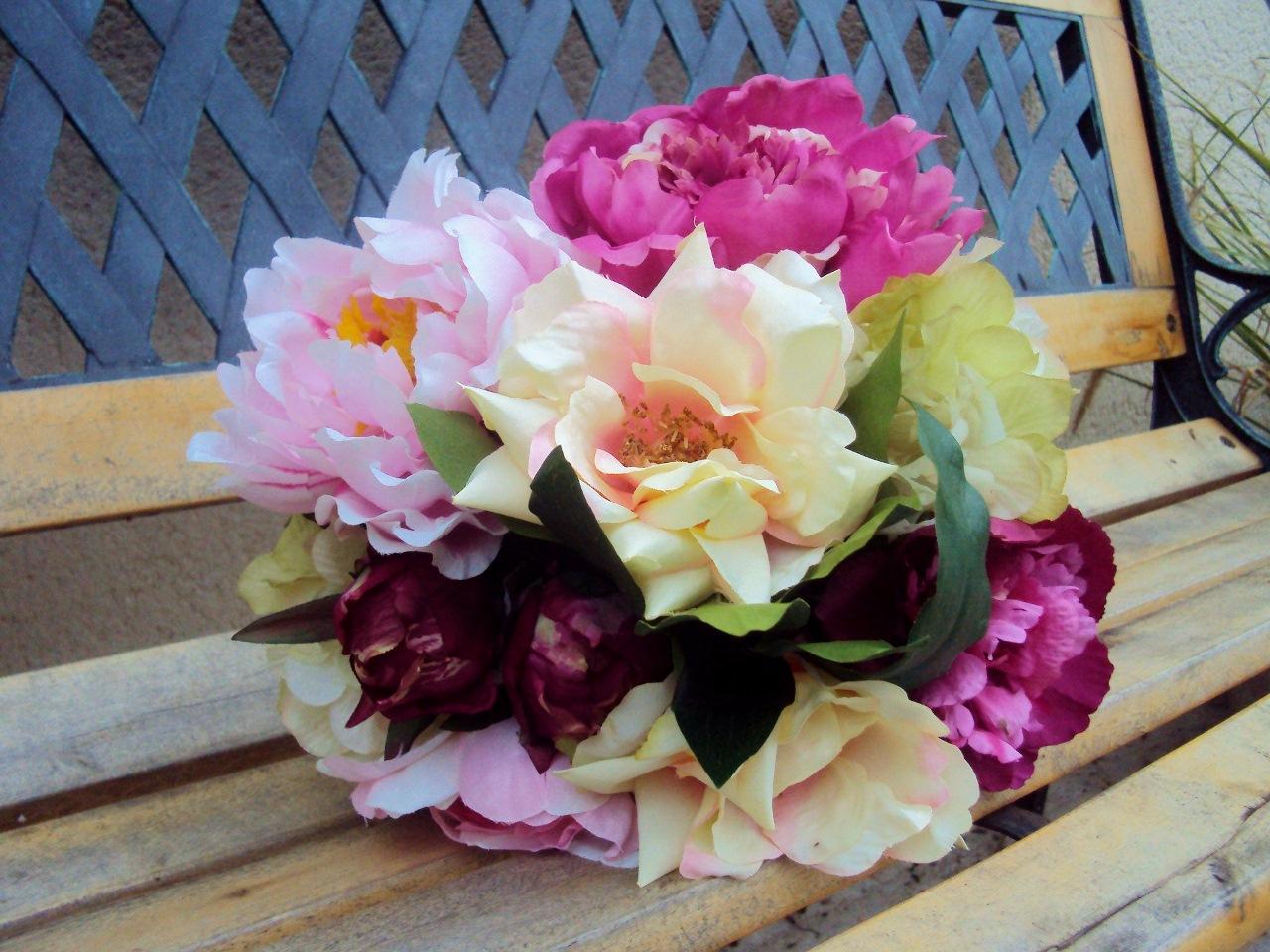 Bouquet pivoines hortensias roses sauvages fleurs artificielles qualite luxe - Bouquet fleurs artificielles ...