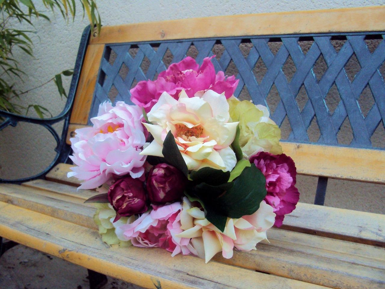 bouquet pivoine rose fleur artificielle