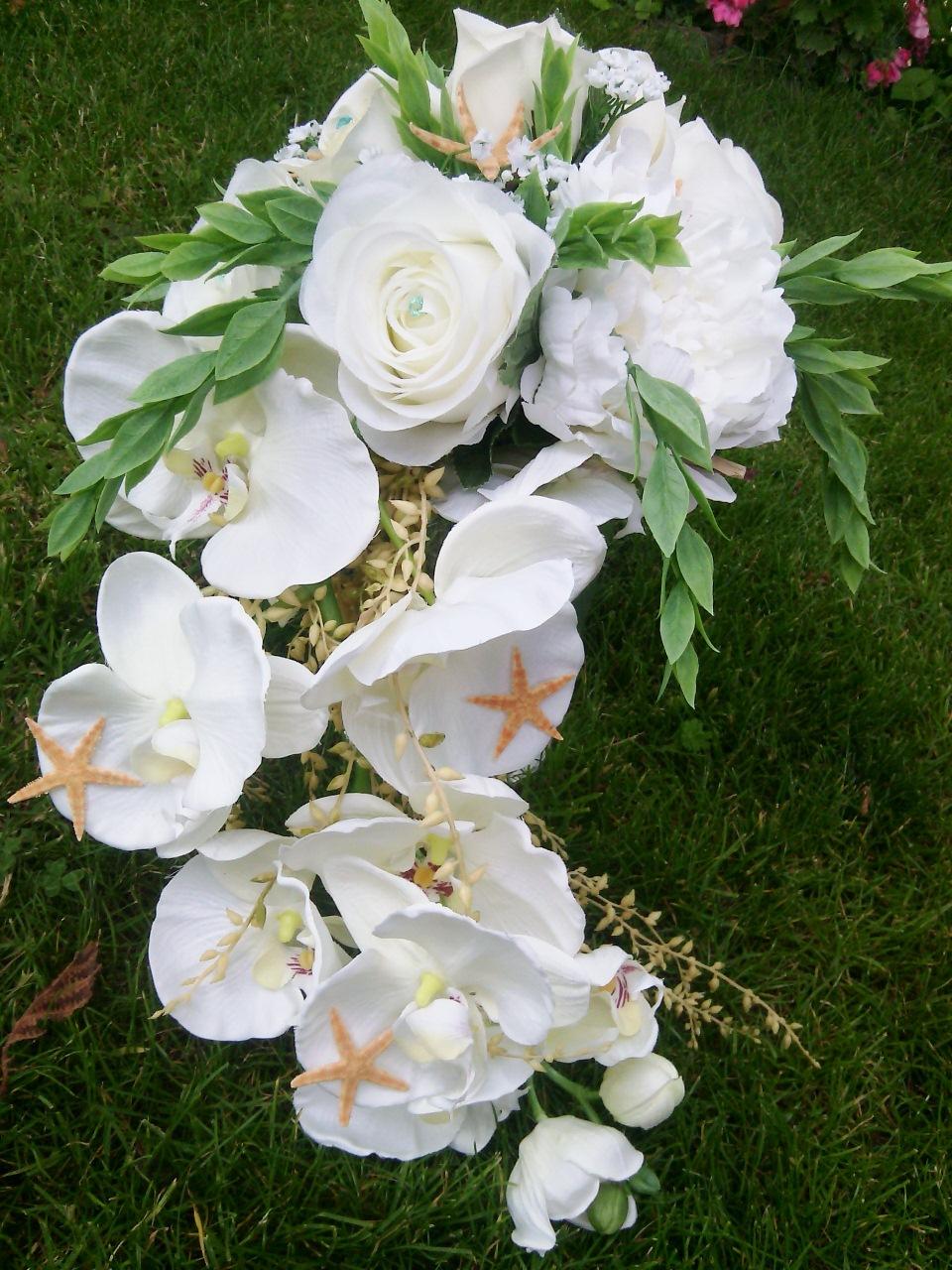 Bouquet mariee ang lique forme cascade orchidees et roses f - Fleur artificielle mariage ...