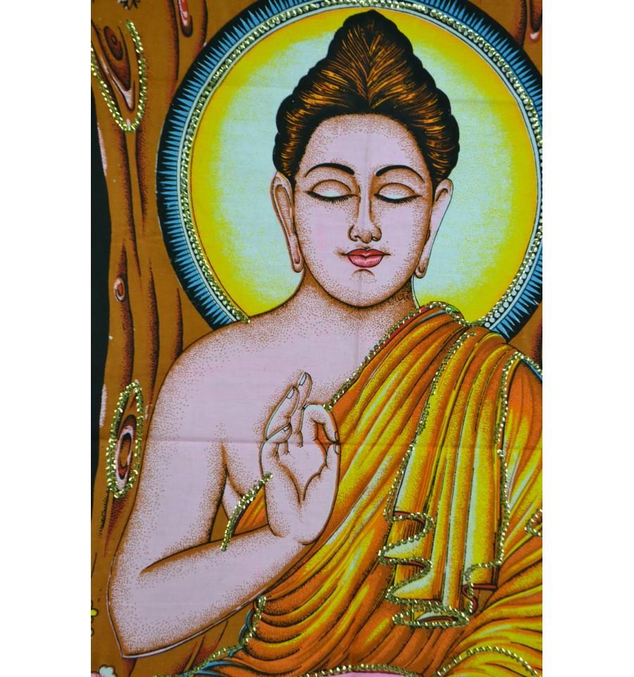 Tenture murale indienne bouddha assis