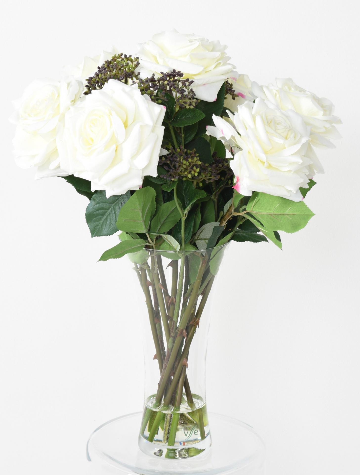 250bouquet roses romances blanc