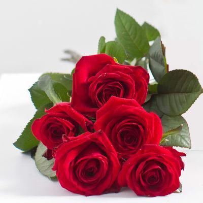 Bouquet 5 roses artifleurs rouge