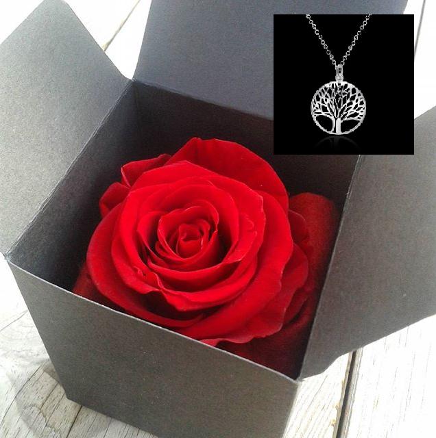 Coffret rose eternelle parfumee artifleurs collier arbre de vie artifleurs