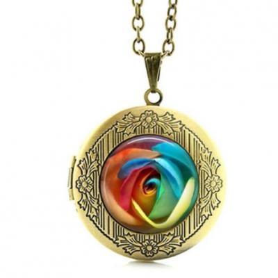 Rose rainbow collier bronze